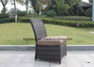 El vector de cena al aire libre de los muebles de mimbre fijó con el mimbre plano de la curva de la media luna de la silla 0051 10m m de la rota y el mimbre redondo de 5m m