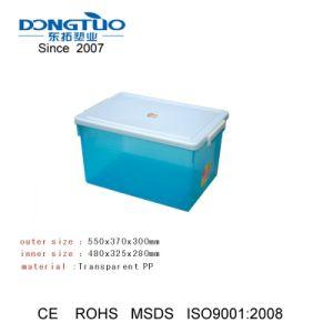 45L Caixa de armazenamento de plástico transparente, Caixa de armazenamento transparente, Caixa de plástico para uso doméstico, Caixa de armazenamento de plástico PP, Embalagem com Rodas