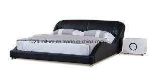 ليّنة غرفة نوم أثاث لازم جلد سرير مستديرة