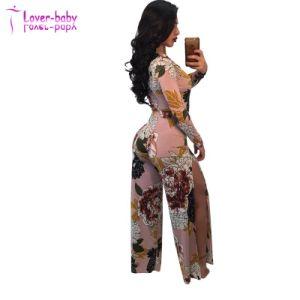 Floral Rosaline adultos profunda V Cuello Plus Size Plunge Bodycon Jumpsuit Mujer