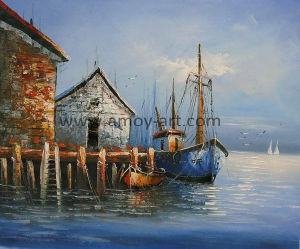 Barca e nave decorative Handmade della pittura su tela di canapa per la decorazione della parete