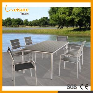 Aufgetragener grauer Textilene Aluminiumtisch und Stuhl-gesetzte im Freienmöbel