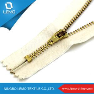 Gouden Katoenen van de Ritssluiting van het Metaal van de Trekker van het Plateren Regelmatige Band voor Jeans