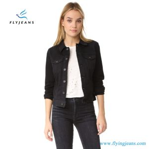 –manches –manches Femmes Noir Longues Manches Jeans Denim Denim Vestes qPBwaYS