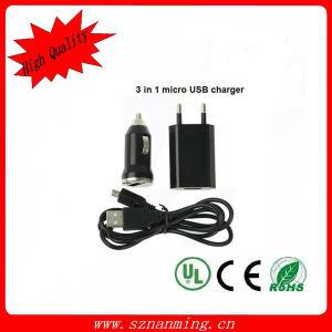 Переходника силы заряжателя автомобиля и стены с кабелем USB