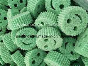 La sonrisa de poliéster de forma de la cara de esponja exfoliante de limpieza de cocina