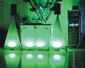 메가 LED 동위 DMX 7*10W RGBW 4in1 편평한 단계 빛