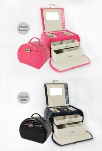 JewelryのためのFashion PU Cosmetic Makeup Box Toiletry Wash Beauty Case女性