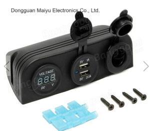 12-24V Mechero de coche+Cargador Adaptador USB Socket Dual+Voltímetro digital