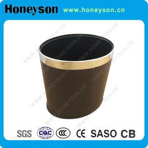 Casier ovale accessoire de double couche de salle de bains d'hôtel de Honeyson avec le cuir d'unité centrale de Brown