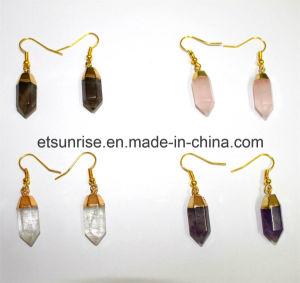 De semi Kostbare Violetkleurige van het Kristal van de Halfedelsteen Oorring van het Kwarts
