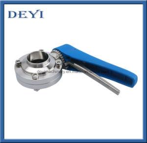 1  valvola a farfalla della saldatura dell'acciaio inossidabile con la maniglia blu