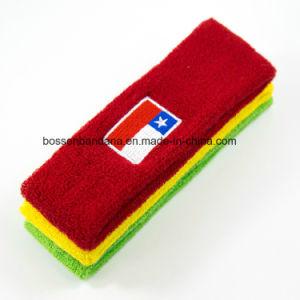 工場OEMの農産物のカスタムロゴの刺繍の赤いテリーの連続した体操の汗ヘッドバンド