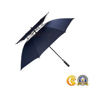 Тебя от ветра Shaderain Double Layer поле для гольфа зонтик, прямой/длинный зонтик, автоматически открывать чистый цвет зонтик, зонтик в материал из стекловолокна