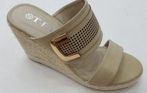 Femme élégante sangle Trap talon Mesdames Espadrille Chanvre chaussures sandales de filtre en coin