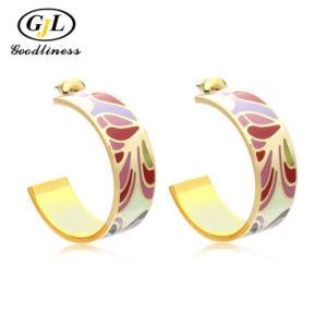 Beaux bijoux émail colorés Earring Silver Fashion Bijoux en laiton
