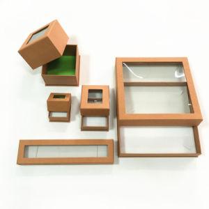 Ventana de PVC personalizadas joyas/Anillo Pulsera Collar y aretes/Caja de regalo de papel