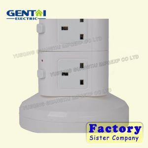 Deux couches UK British Plug tour verticale prise multiple avec USB