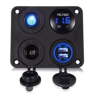 Cargador Dual USB 2.1A+2.1+ salida de alimentación de 12V +No-off+ Voltímetro LED 4 en 1 Panel cargador para coche moto