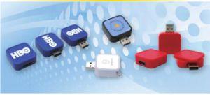 エポキシのドームのラベルまたはレーザーによって刻まれるロゴU107/Sy046の正方形の引き込み式USBのフラッシュ駆動機構