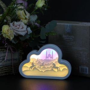 3D Caixa Sombra Tabela LED branco para entalhar a luz nocturna com pintura da estrutura operado a bateria da retaguarda