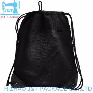 Noir personnalisé de haute qualité en coton biologique de sacs de magasinage avec lacet de serrage de la mousseline noir
