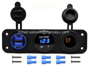 三重機能二重USBの充電器+車のボートの海洋のデジタル装置携帯電話のタブレット(青いLED)のためのLEDの電圧計+ 12Vアウトレットの電力ソケットのパネルジャック
