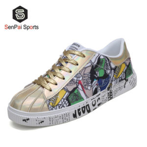 2021 Hotsell Shinny PU des chaussures plates, hommes et femmes Fashion Sneakers
