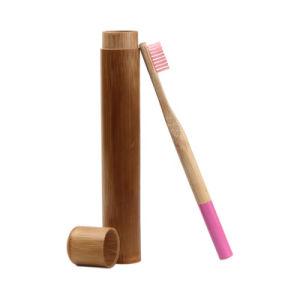Viajar em bambu natural de boca de escovação com escova de dentes biodegradável titular