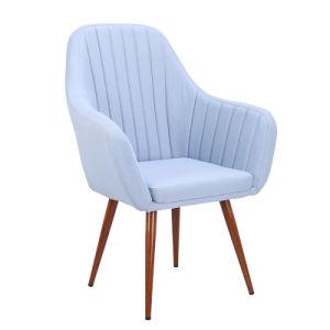 Hotel de estilo europeo tejido comercial Ocio Salón acento silla con patas de hierro