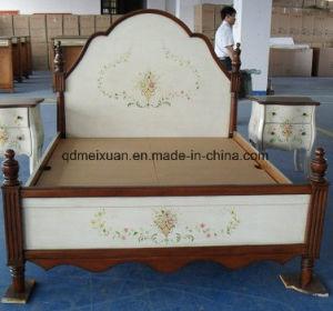 Farbige Zeichnungs-oder Muster-Bett-handgemalte hölzerne schnitzende Bett-amerikanische landwirtschaftliche Mittelmeerland-Möbel das hohe ausscheidende Bett (M-X3614)