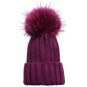 Señoras fábrica de tejidos de punto de pieles de invierno Pom Pom Beanie sombreros