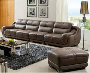 4 Seaterの上のグレーンレザーのソファーのホテルのロビーの家具(A849)