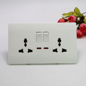 UK standard à deux Gang le connecteur de contacteur 3broche double socket MF W/N