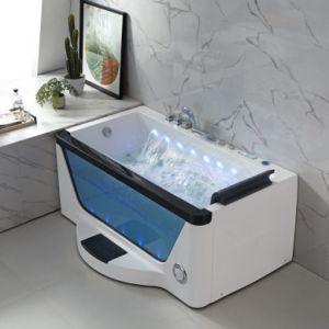 Novo Design Woma Cachoeira de vidro quadrado luzes coloridas de jatos de ar Hidro spa banheira de hidromassagem