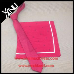 Hechos a mano el logotipo de tejido de seda corbata roja con bufanda coincidentes