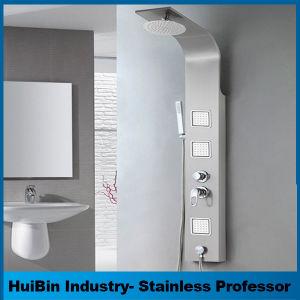 2018 Nuevo Lujo de montaje en pared expuesta del panel de ducha multifunción con acero inoxidable 304