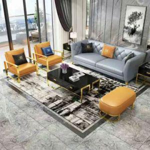 Sofà moderno di lusso chiaro del cuoio genuino con il blocco per grafici dell'acciaio inossidabile (L02)