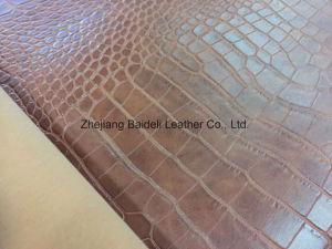 Хлопок имитация бархата с ПВХ изоляцией из натуральной кожи для леди ЭБУ подушек безопасности/диван/мебель с крокодил дизайн