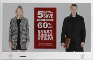 Exibição de publicidade transparente de 24 polegadas para expositores de Luxo