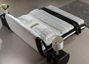 Novo e moderno design elegante cama de couro branco para o quarto (HC332)