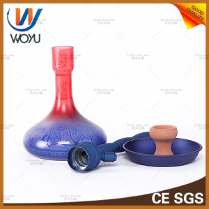 Vaporizzatore di vetro del narghilé della maniglia del narghilé del commercio all'ingrosso della fabbrica della Cina della vernice di processo della grande di tabacco di fumo del tubo E di acqua sigaretta elettronica liquida di vetro di alluminio del tubo