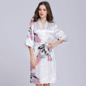 Les femmes de la soie à manches courtes robe de mariée Robe Peacock Kimono (RS 020)