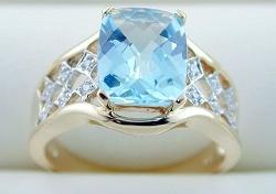 anello di oro giallo 10K con il diamante e la pietra preziosa (LRG1168)