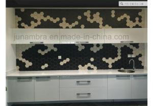 de 95X110mm Verglaasde Tegel van het Mozaïek van het Porselein van het Kristal Donkere Grijze Hexagon voor Gebruik Intrior en Extrior
