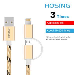 2 в 1 зарядное устройство USB оплеткой Нейлоновый кабель передачи данных для Android и iPhone