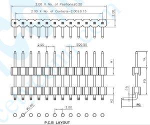 O pH de fábrica: 2,0 mm única fileira de pinos de Ângulo Direito