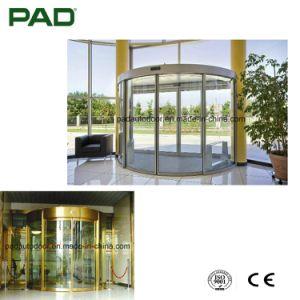 Arco de color plata puerta corrediza de vidrio con acabado en acero inoxidable