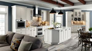 最もよい上等の工場直接シェーカーのパネル・ドアの堅い木製の中国の台所家具デザイン