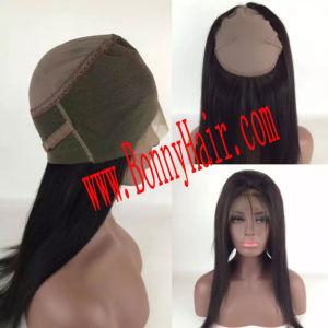 ゴムが付いているブラジルのバージンの人間の毛髪の拡張360レースの前部閉鎖はハンドメイドベルトを調節する